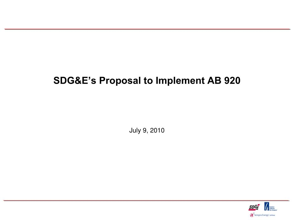 SDG&E's Proposal to Implement AB 920