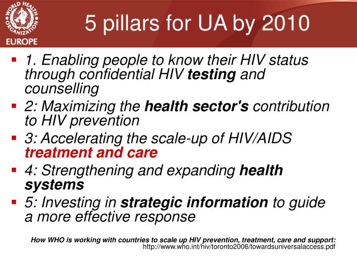 5 pillars for UA by 2010