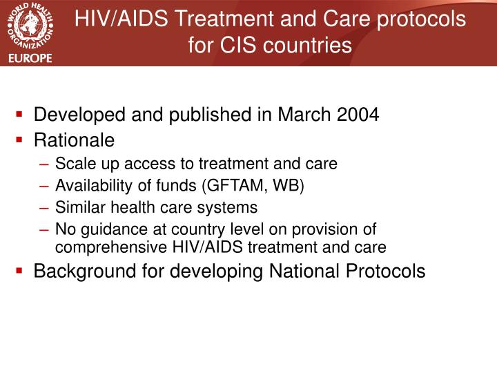 HIV/AIDS Treatment and Care protocols for CIS countries