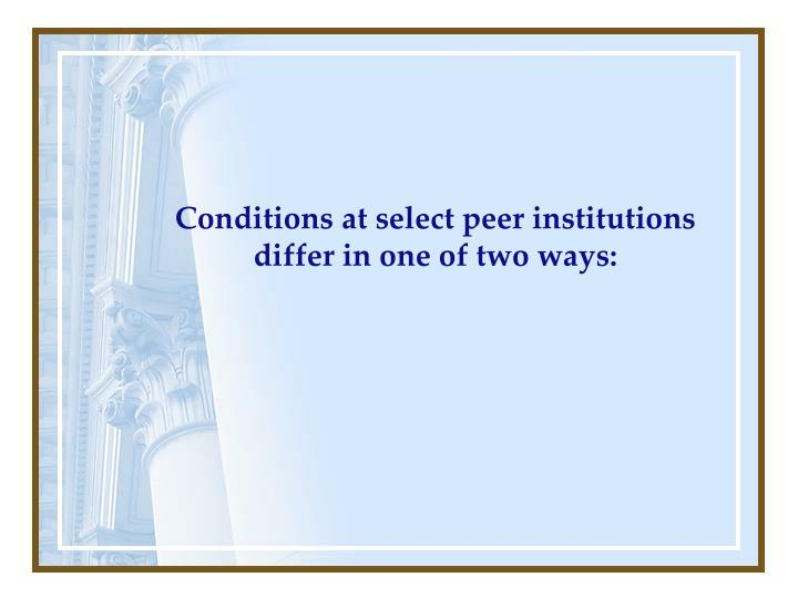 Conditions at select peer institutions differ in one of two ways: