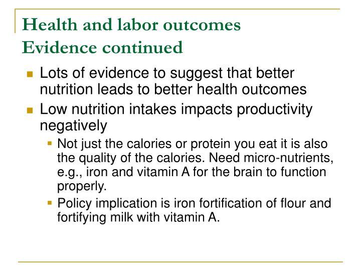 Health and labor outcomes