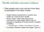 health and labor outcomes evidence