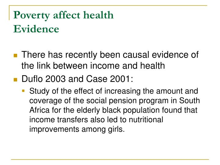 Poverty affect health