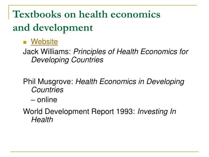 Textbooks on health economics