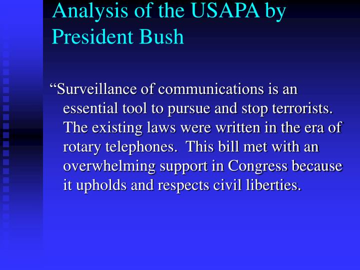 Analysis of the USAPA by President Bush