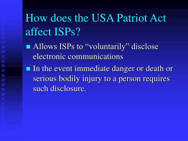 How does the USA Patriot Act affect ISPs?