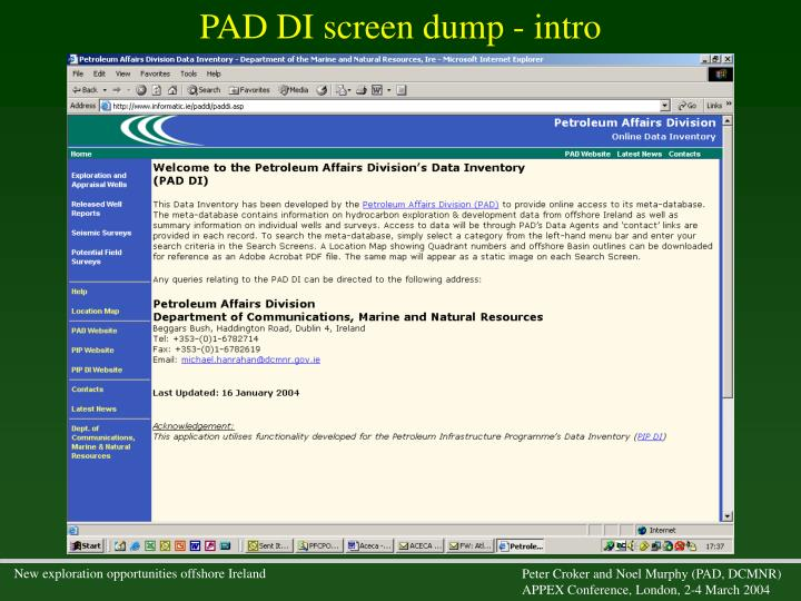 PAD DI screen dump - intro