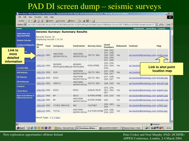 PAD DI screen dump – seismic surveys