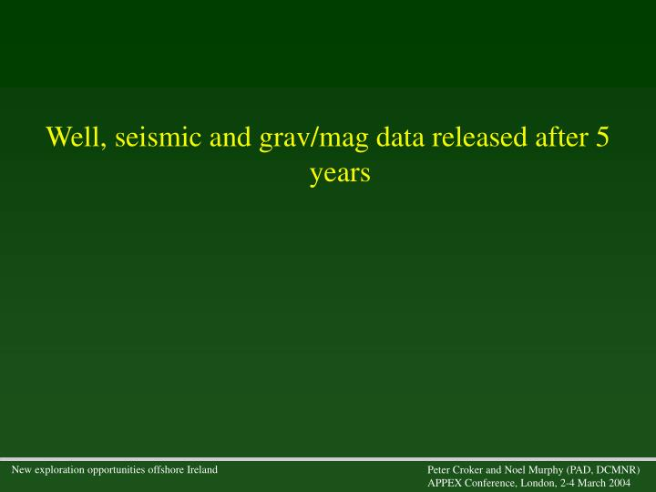 Well, seismic and grav/mag data released after 5 years