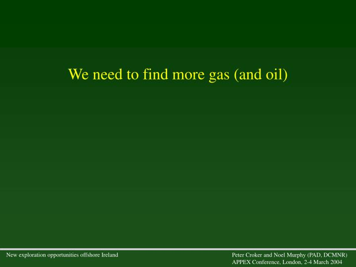 We need to find more gas (and oil)