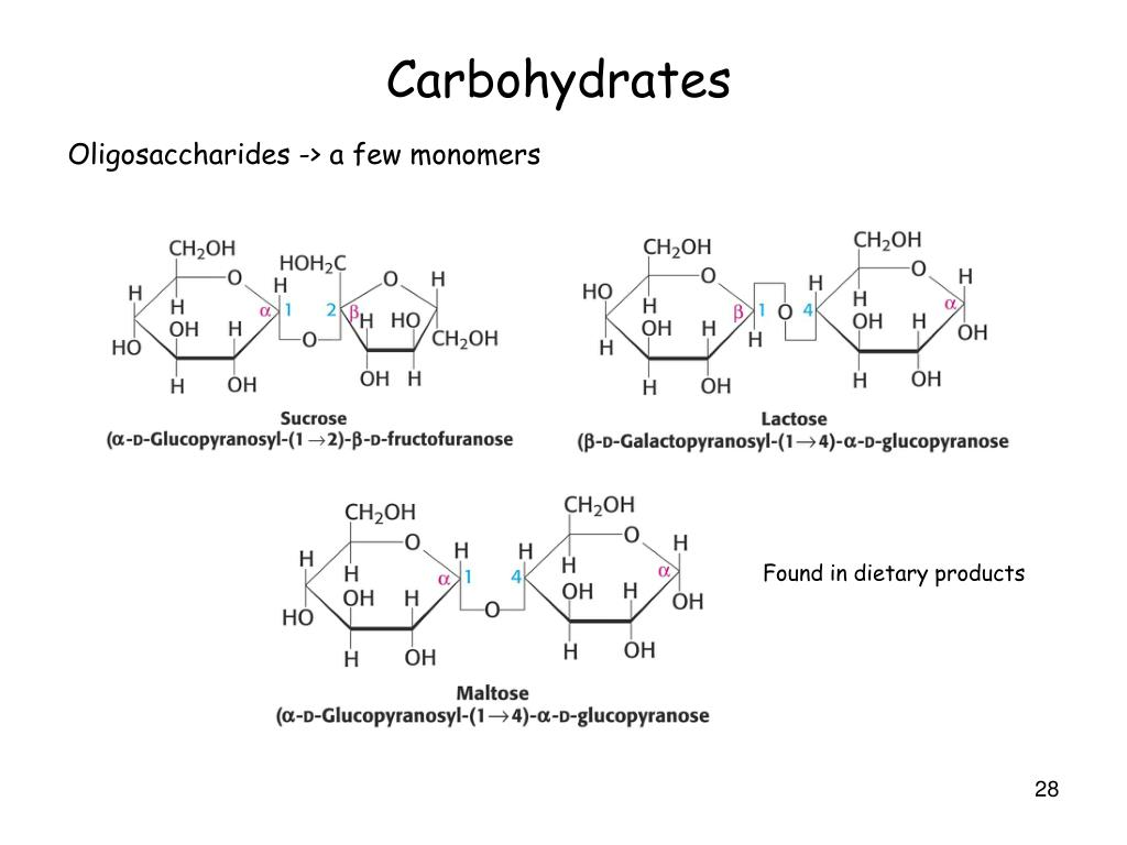 Oligosaccharides -> a few monomers