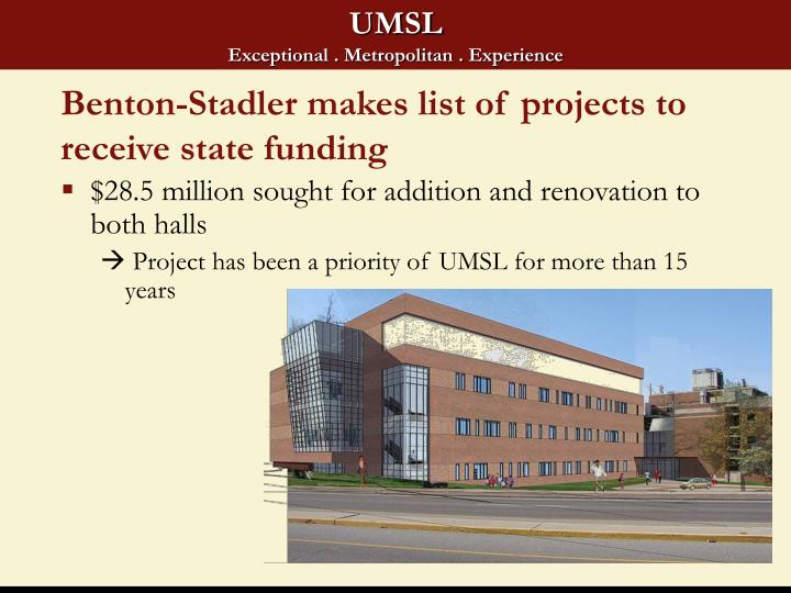 Benton-Stadler makes list of projects to receive state funding