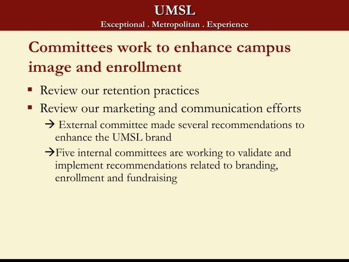 Committees work to enhance campus image and enrollment