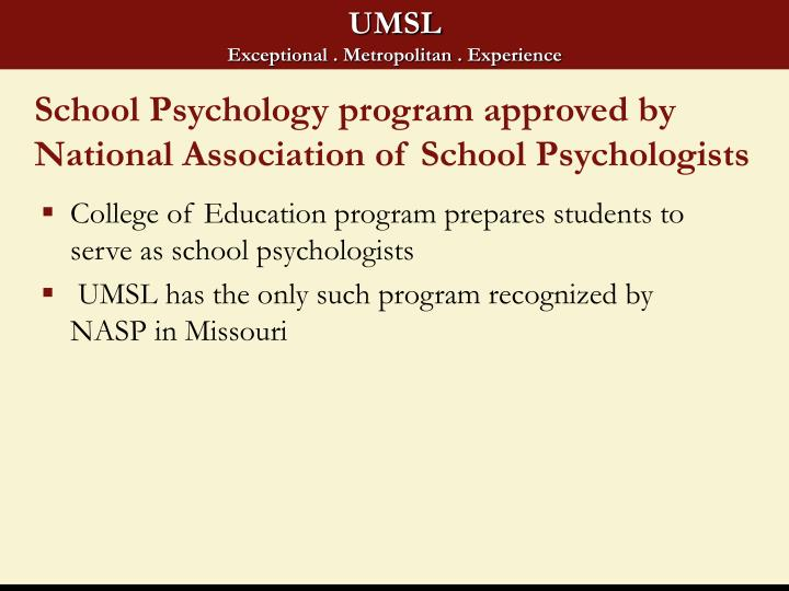 School Psychology program approved by National Association of School Psychologists