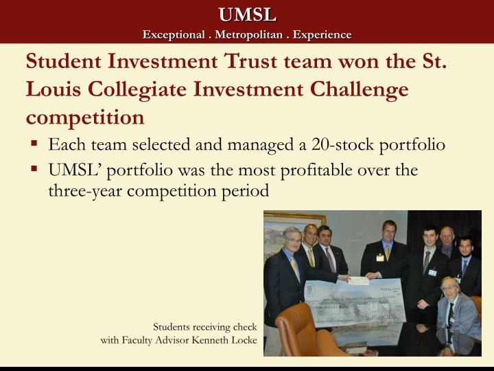Student Investment Trust team won the St. Louis Collegiate Investment Challenge competition