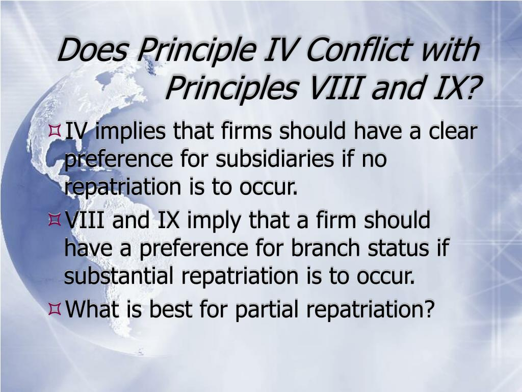 Does Principle IV Conflict with Principles VIII and IX?
