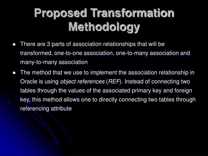 Proposed Transformation Methodology