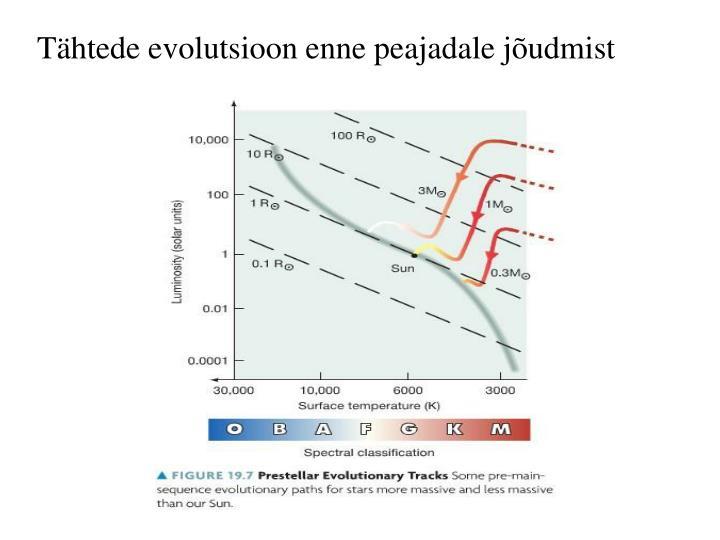 Tähtede evolutsioon enne peajadale jõudmist