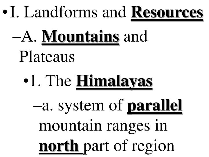 I. Landforms and