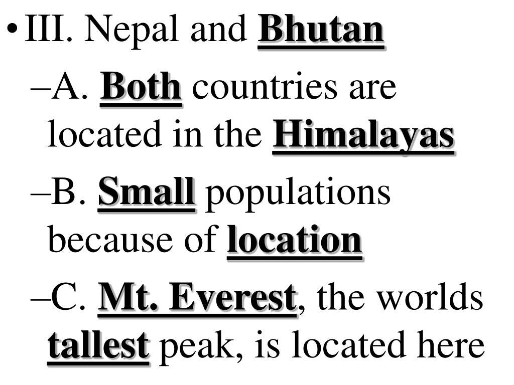 III. Nepal and