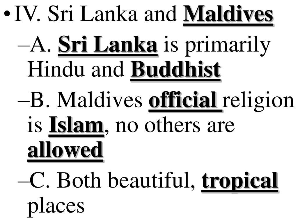 IV. Sri Lanka and
