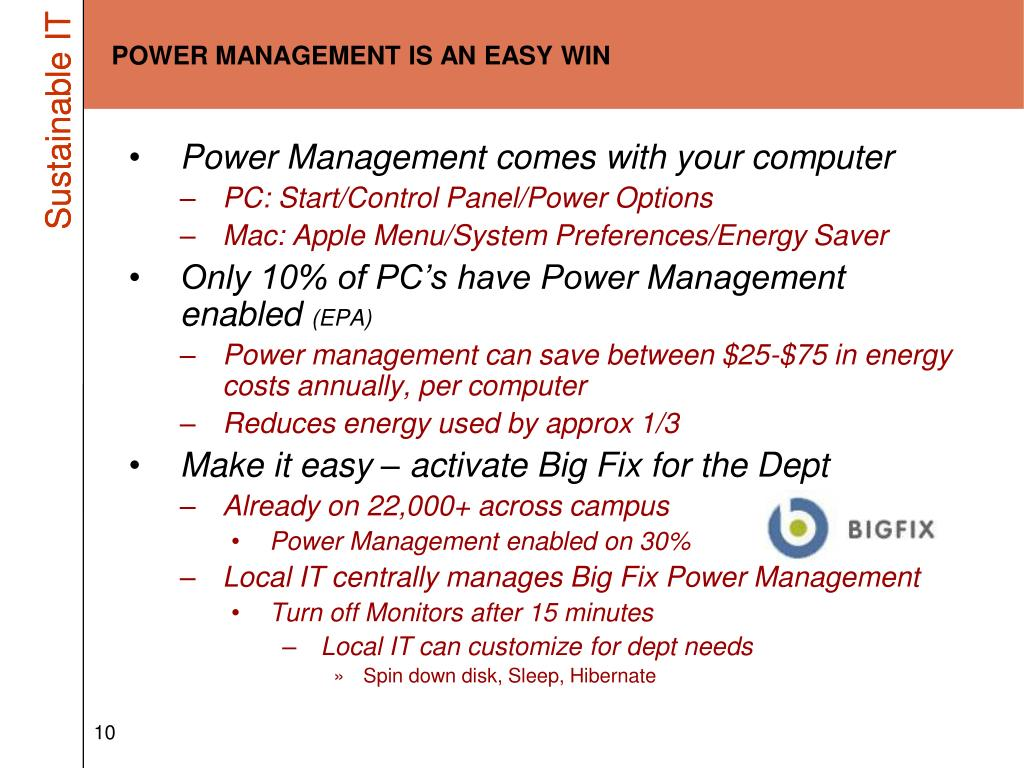 POWER MANAGEMENT IS AN EASY WIN