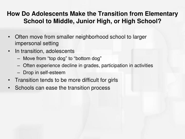 How Do Adolescents Make the Transition from Elementary School to Middle, Junior High, or High School?