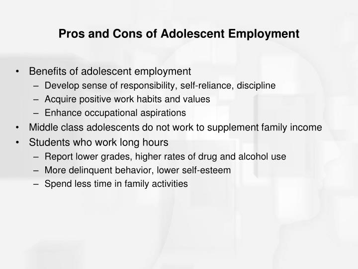 Pros and Cons of Adolescent Employment
