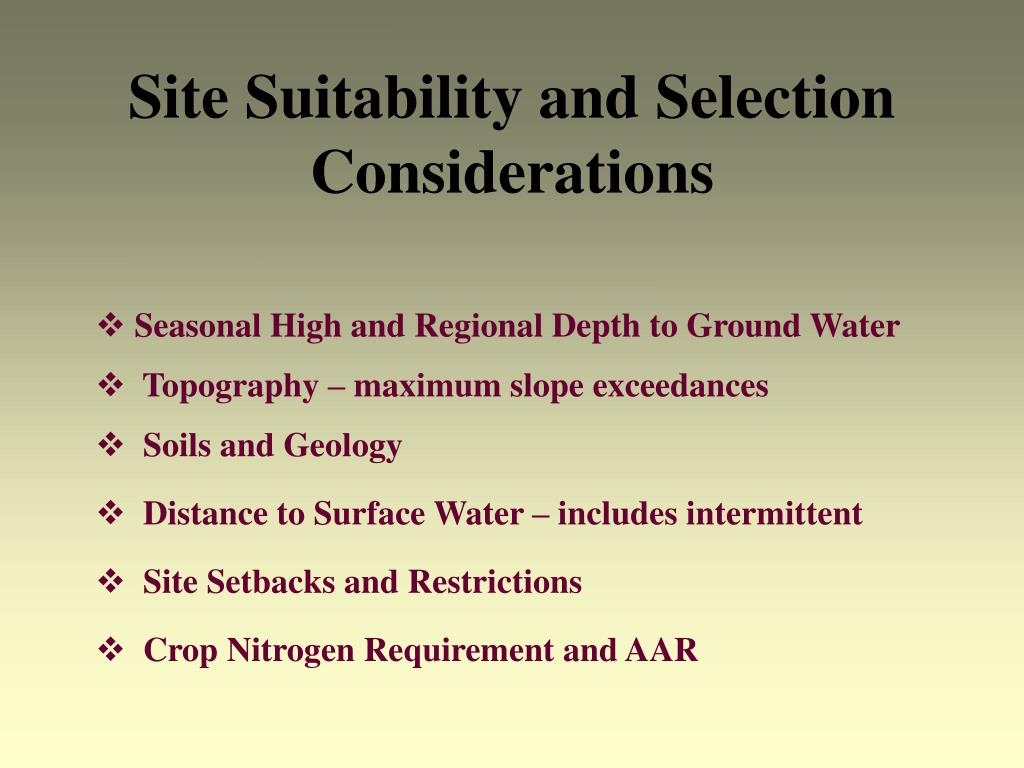 Site Suitability and Selection Considerations
