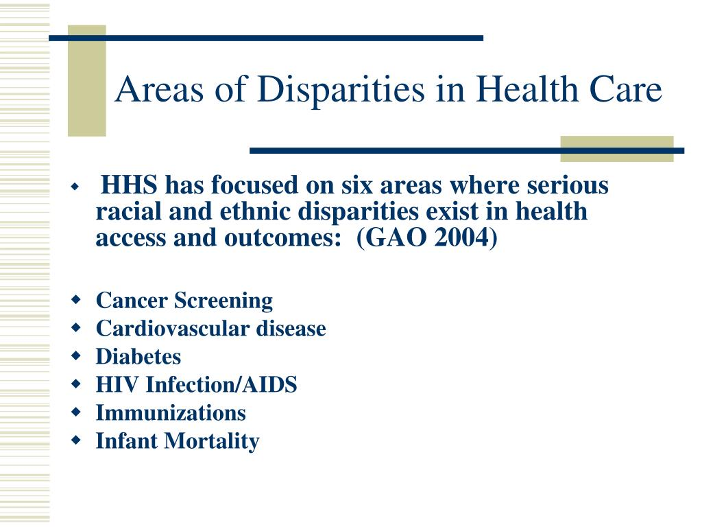Areas of Disparities in Health Care