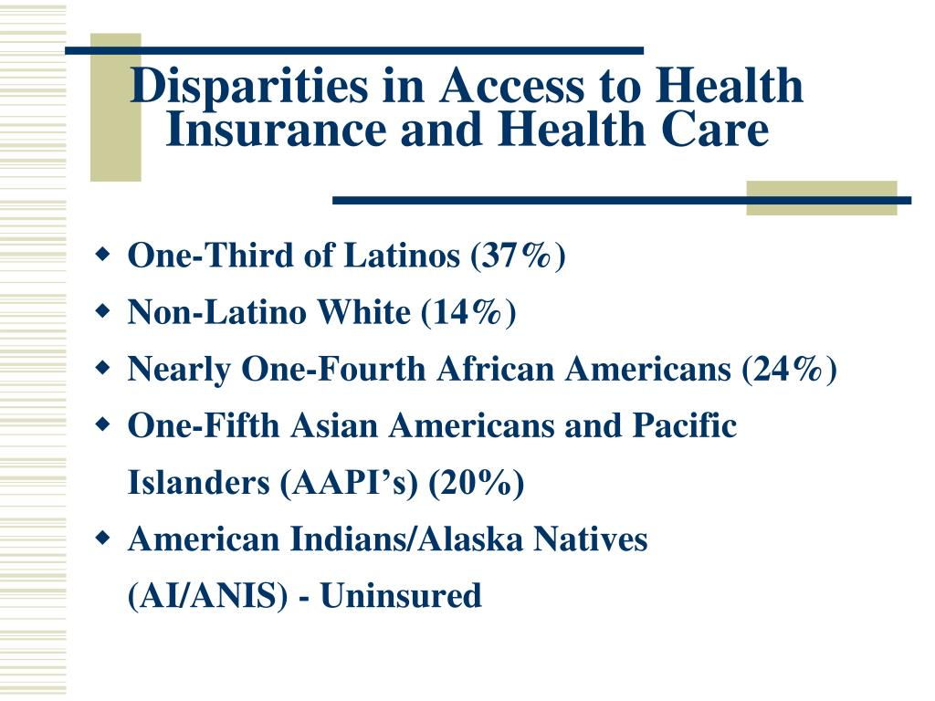 Disparities in Access to Health Insurance and Health Care