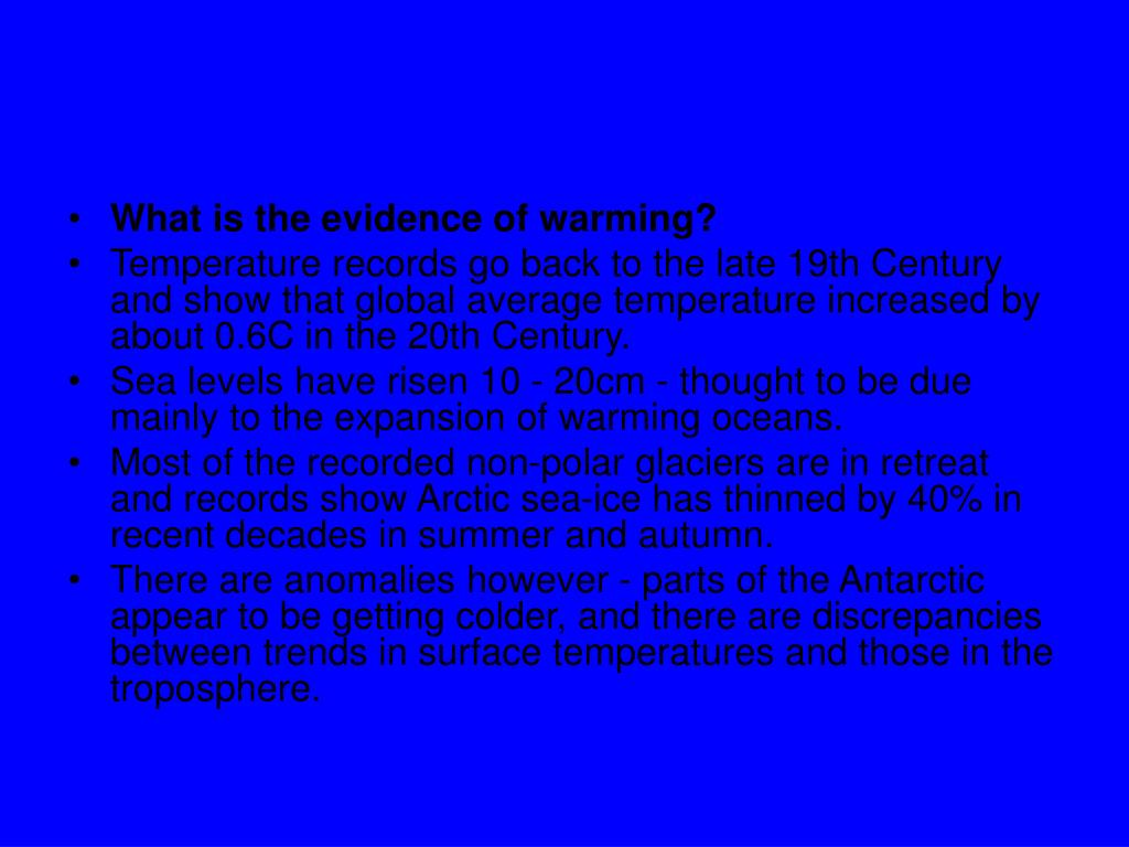 What is the evidence of warming?