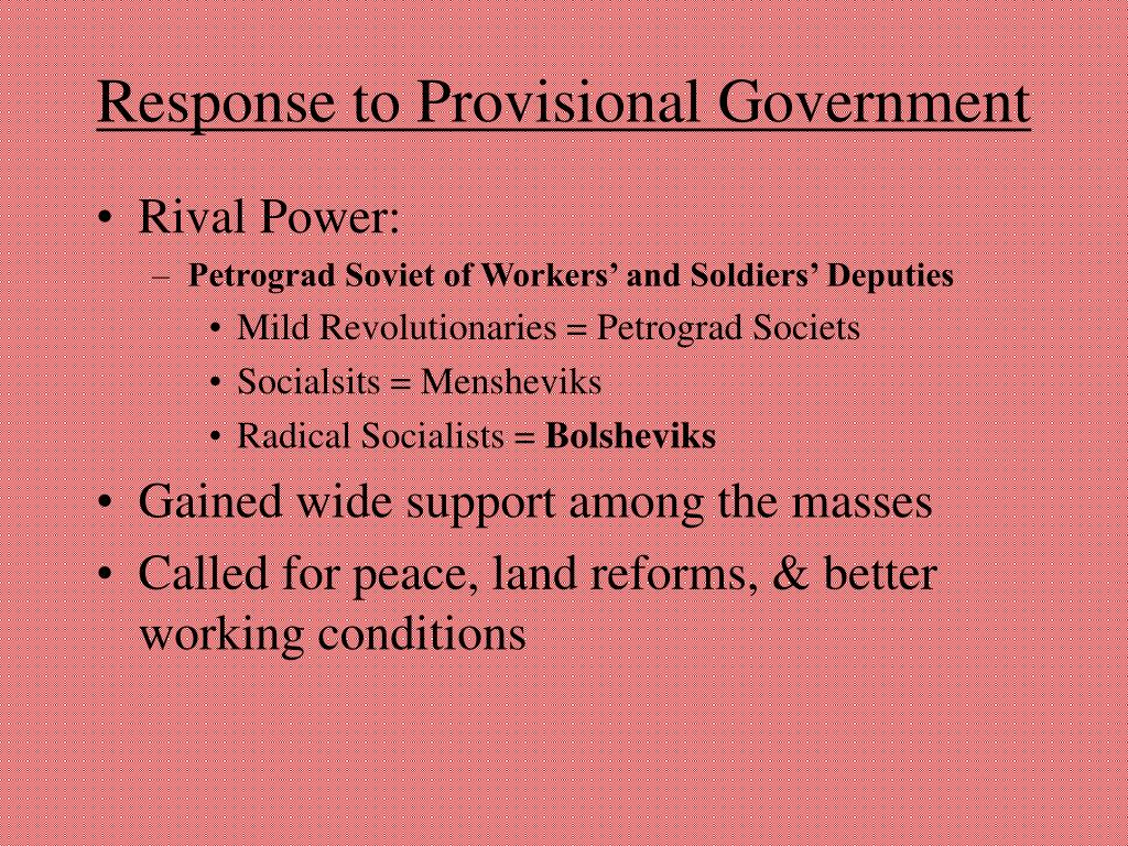 Response to Provisional Government
