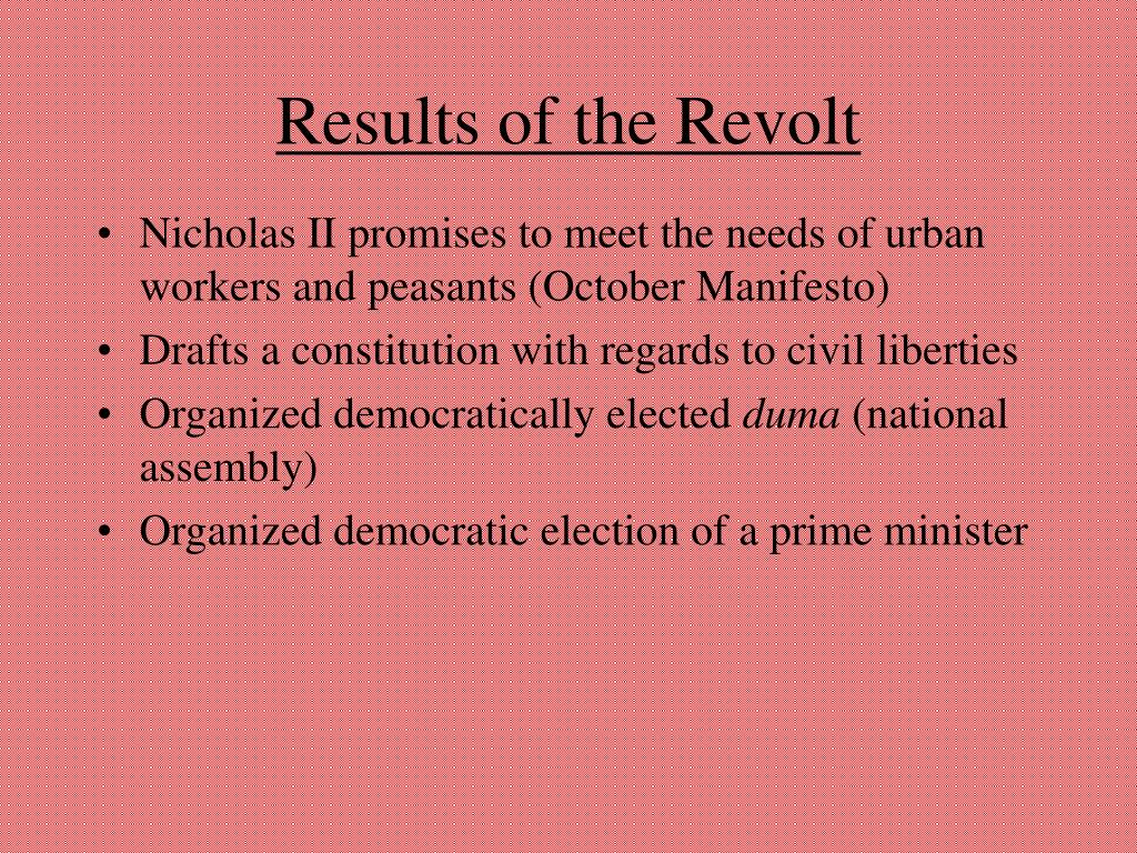 Results of the Revolt