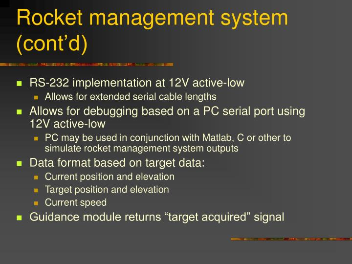 Rocket management system (cont'd)