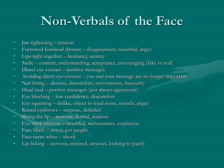 Non-Verbals of the Face