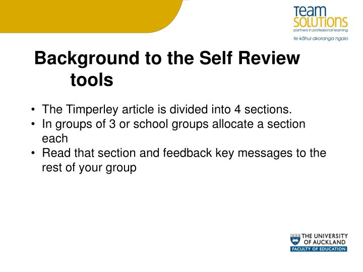Background to the Self Review tools