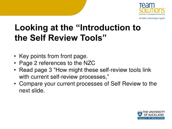 "Looking at the ""Introduction to the Self Review Tools"""