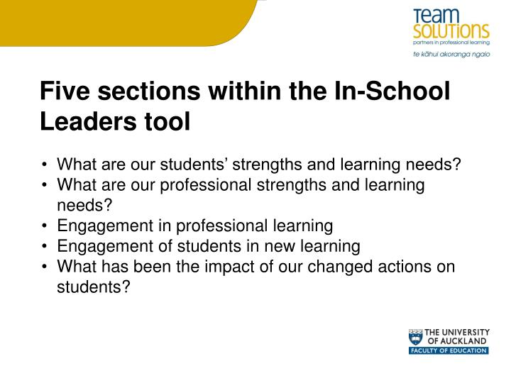 Five sections within the In-School Leaders tool