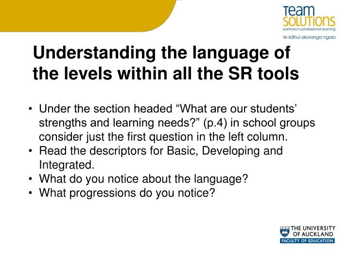 Understanding the language of the levels within all the SR tools