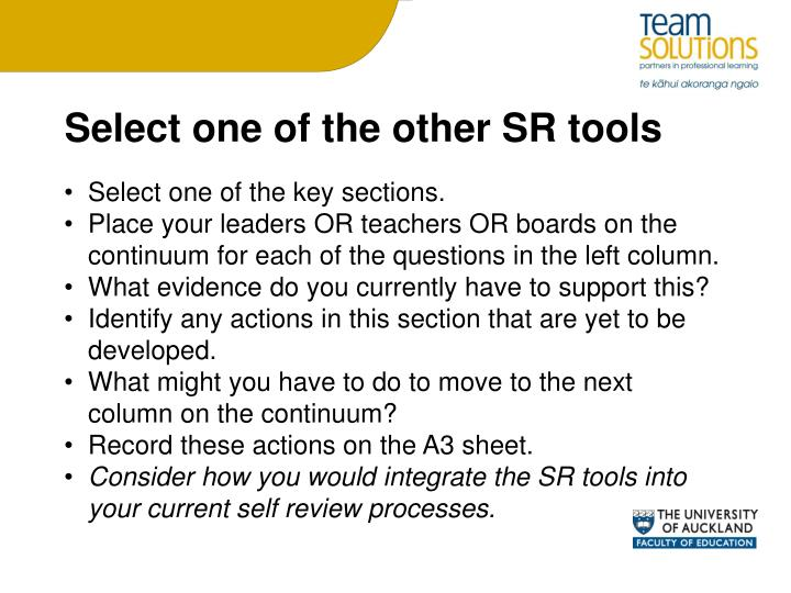 Select one of the other SR tools