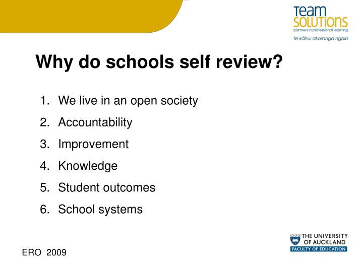 Why do schools self review?