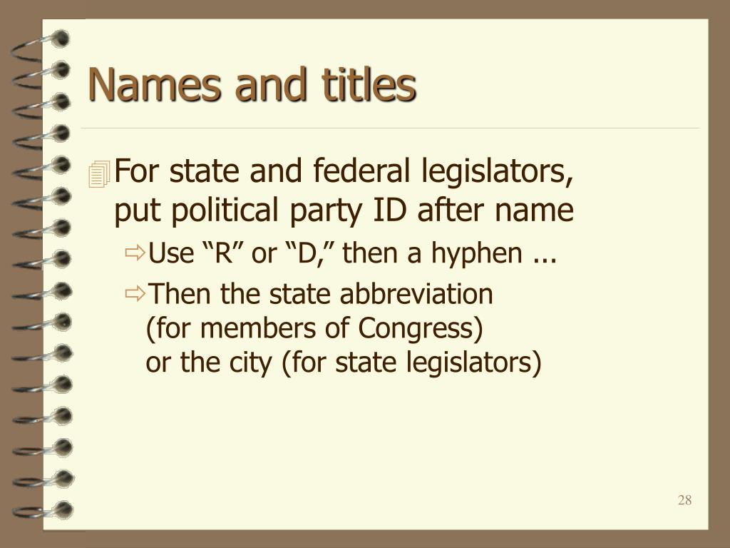Names and titles