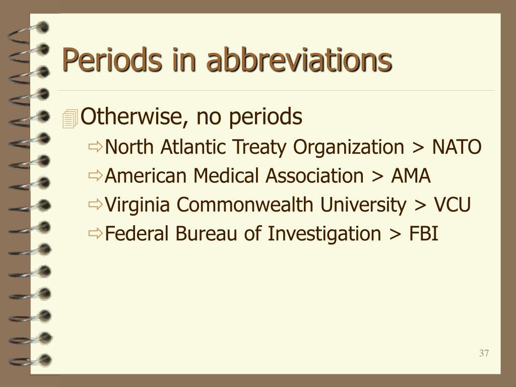 Periods in abbreviations