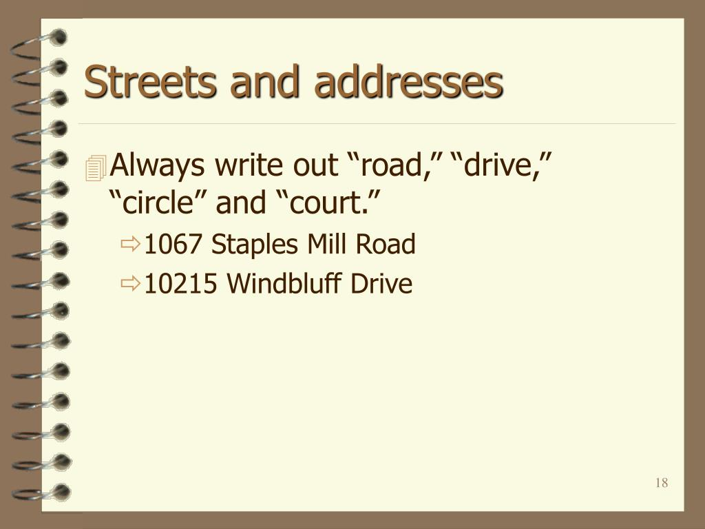 Streets and addresses
