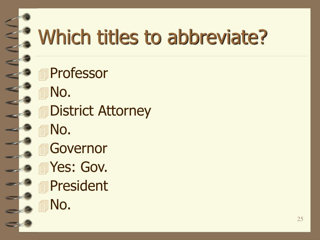 Which titles to abbreviate?