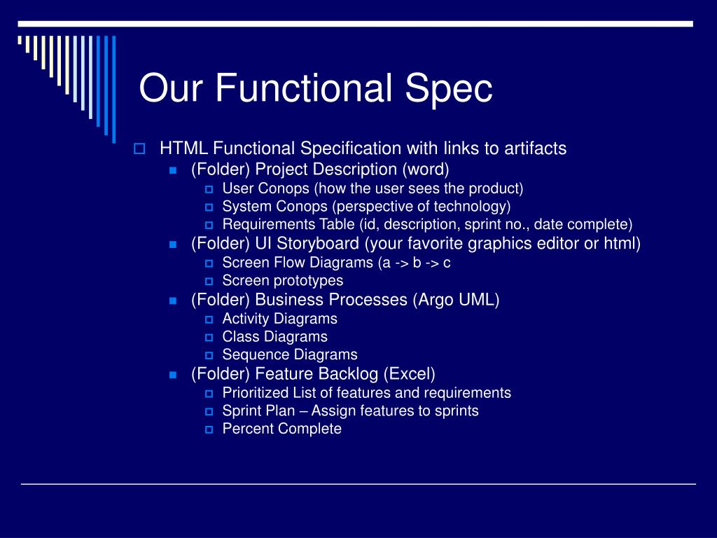 Our Functional Spec