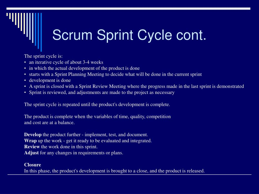 Scrum Sprint Cycle cont.
