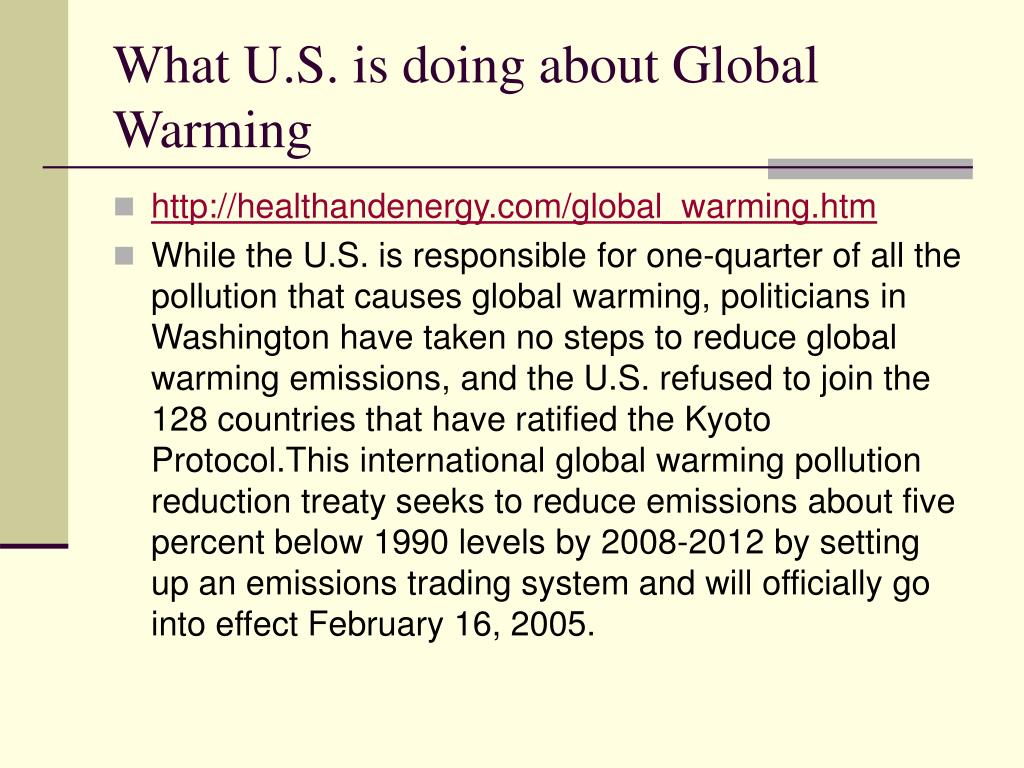 What U.S. is doing about Global Warming