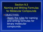 section 9 3 naming and writing formulas for molecular compounds1